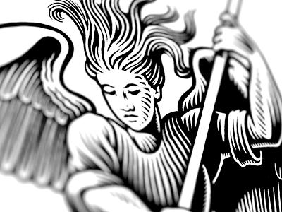 Avenging Angel demons angels bw illustration