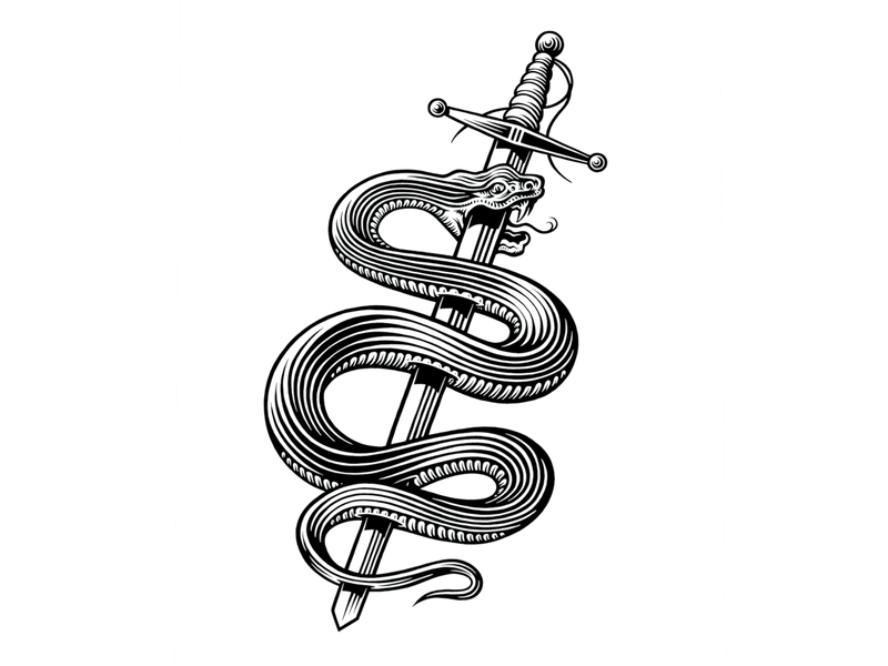 Snakes & swords sword snake bw illustration