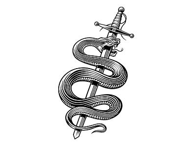 Snakes & swords sword snake bw illustration