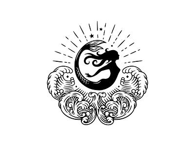 Mermaid Gin waves spirits illustration gin mermaid logo engraving