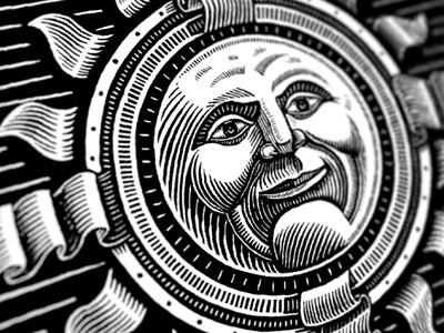 Sun God scratchboard sun illustration