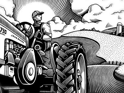 John Deere Mural mural scratchboard farm tractor landscape wheat field farmer
