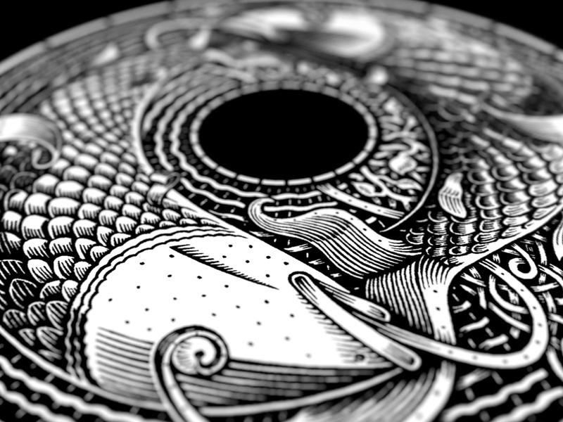 Pisces pisces fish scratchboard black  white illustration