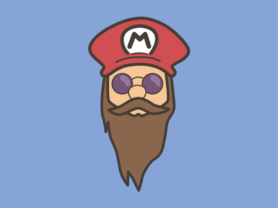 Bearded Mario mario beard sunglasses cool mustache trippy character avatar
