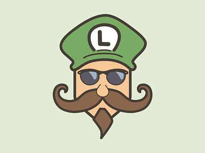 Mustache Luigi luigi mustache cool trippy sunglasses avatar character beard