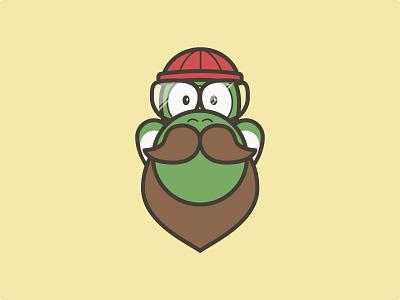 Hipster Yoshi glasses beanie lumberjack beard illustration yoshi