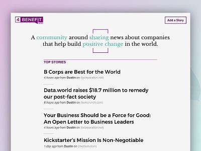 4Benefit News Website share links aritlce news minimal green purple website