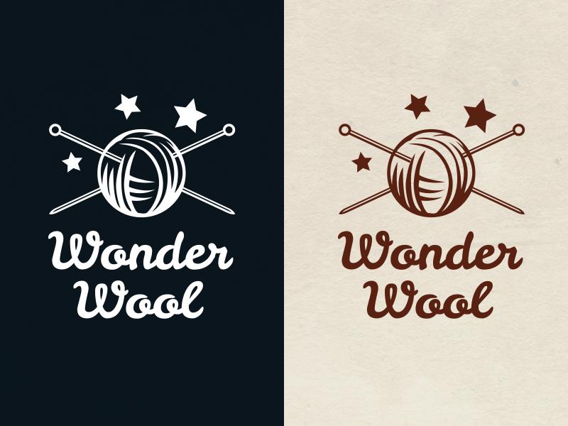 Wonder Wool logo logotype wonder stars wool needles knitting needle knitting
