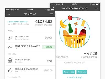 N26 animation illustration ui principle income expenses list transactions bank mobile app finance