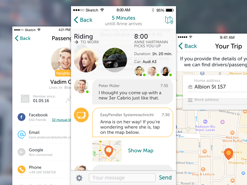 Daily Ride Screens profile chat trip locations map overview social mobile transport ui cars app