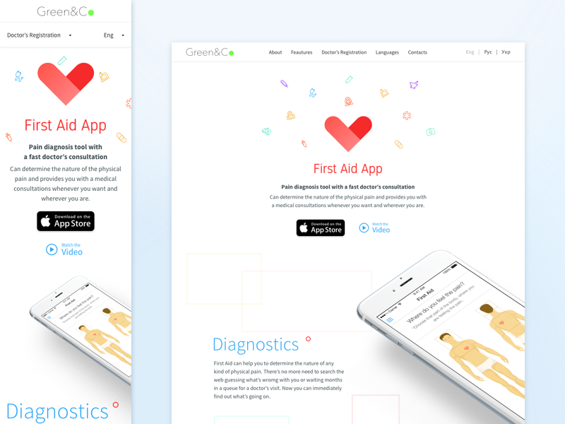 First Aid App Page adaptive responsive mobile app ios healthcare health webdesign web design web page web landing