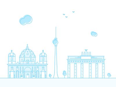 Berlin minimalistic blue flat cathedral tower gates illustration cityscape city berlin line art line