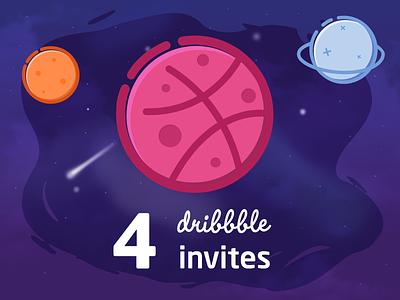 4x Dribbble Invites 2d cosmic planets cartoon vector illustration design galaxy space invite dribbble