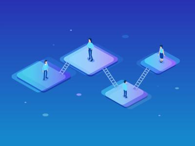 Networking Isometric Illustration tiles web stairs networking isometric people blue design graphic illustration ui