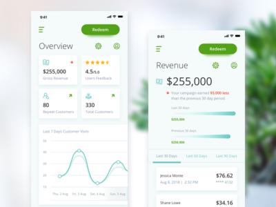 Merchant Center iOS App Concept money statistics app data minimal clean ios finance chart ux ui mobile