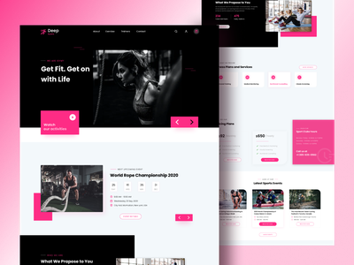 Deep Sports Fitness Website aesthetics design agency fitness app dribbble ui uxui