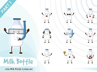 Illustration of cute milk bottle set set cute tiny pose milk bottle illustration vector funtoons design character cartoon