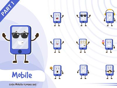 Illustration of cute mobile set phone mobile set cute tiny pose illustration vector funtoons design character cartoon