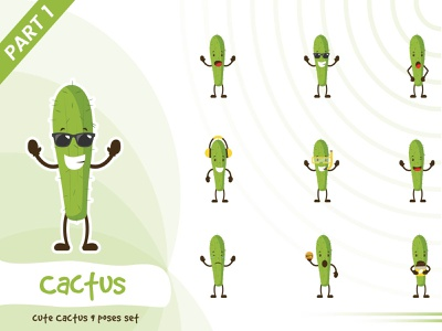 Illustration of cute cactus set green cactus tiny cute pose illustration vector funtoons design character cartoon