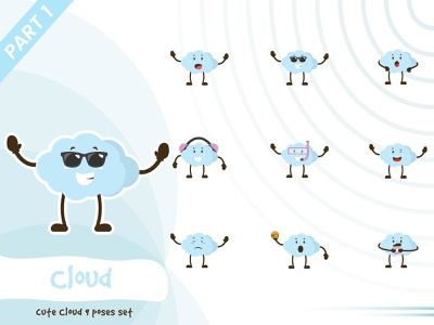 Illustration of cute cloud set illustration pose cloud tiny cute vector funtoons design character cartoon