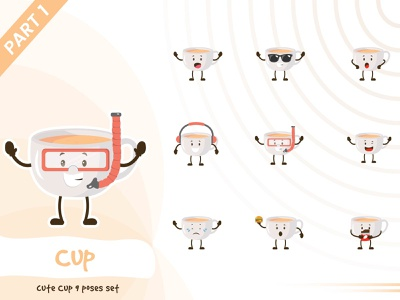 Illustration of cute cup set cup illustration pose set tiny cute vector funtoons design character cartoon
