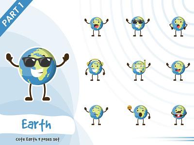 Illustration of cute earth set illustration pose earth set tiny cute vector funtoons design character cartoon