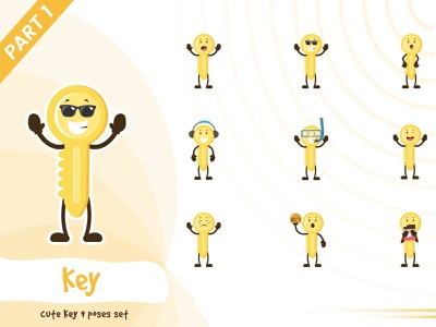 Illustration of cute key set yellow design key tiny cute pose illustration funtoons character cartoon