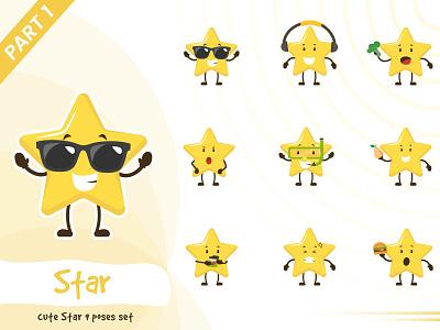 Illustration of cute star set star tiny vector set cute pose illustration funtoons design character cartoon