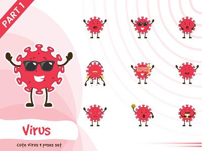 Illustration of virus poses set virus set tiny cute pose vector funtoons design character cartoon