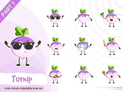 Illustration of cute turnip vegetable set turnip set tiny cute pose illustration vector funtoons design character cartoon