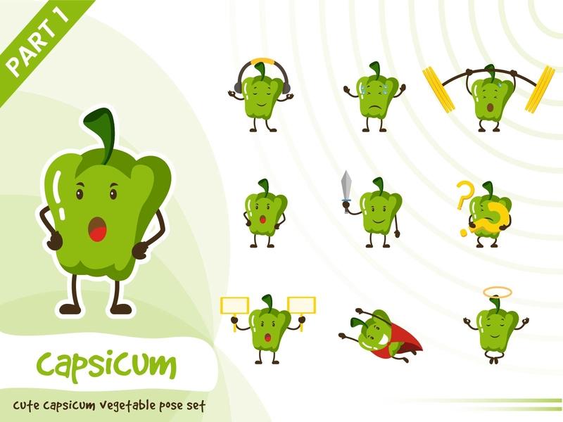Illustration of capsicum vegetable set green set tiny cute pose vector funtoons design character cartoon capsicum