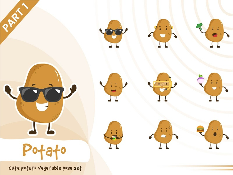 Illustration of cute potato vegetable set potato vegetable vector pose illustration tiny cute funtoons design character cartoon