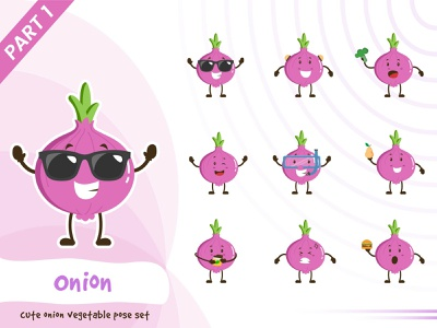 Illustration of cute onion vegetable set set onion vegetable tiny pose cute vector funtoons design character cartoon