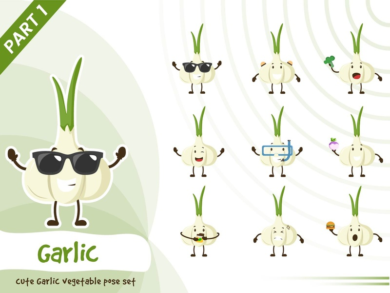 Illustration of cute garlic vegetable set vector tiny garlic vegetable set cute pose funtoons design character cartoon