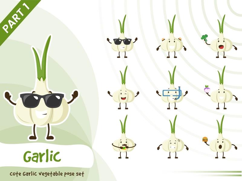 Illustration of cute garlic vegetable set vector tiny garlic vegetable set cute pose funtoons design character cartoon