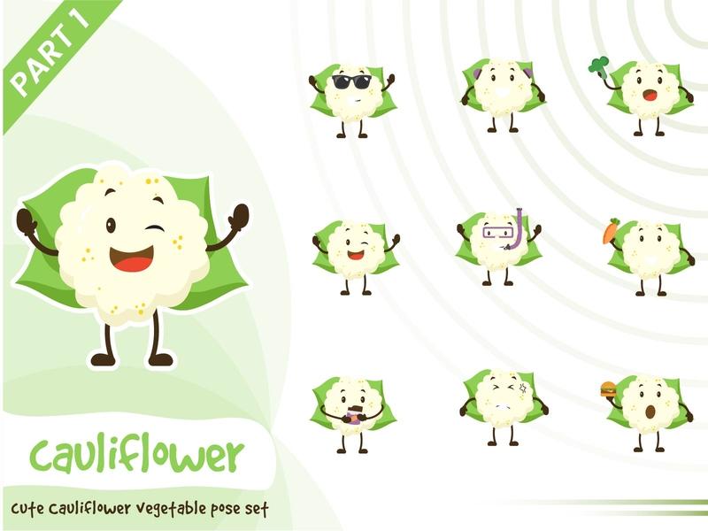 Illustration of cute cauliflower vegetable set vegetable cauliflower pose tiny cute vector funtoons design character cartoon