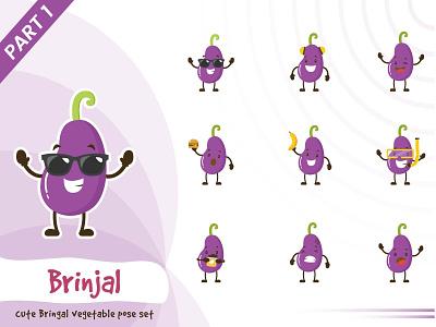 Illustration of cute brinjal vegetable set illustration vegetable funtoons vector set cute pose brinjal design character cartoon