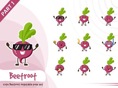 Illustration Of Cute Beetroot Vegetable Set character beetroot vegetable set tiny cute pose vector funtoons design cartoon