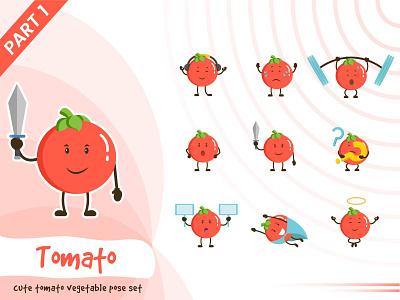 Illustration of cute tomato vegetable set tomato vegetable illustration tiny cute pose vector funtoons design character cartoon