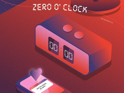Zero O' Clock (BTS) Fan Art digital art print poster happy heart warm warm colors bts fanart lyrics lyric poster notification reminder phone clock alarm clock illustration fanart bts zero o clock