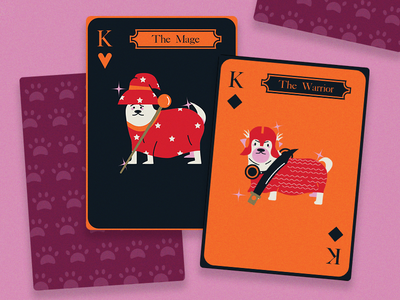 Dogs as Medieval Game Characters Play Cards video game filipino artist solitaire card game game of card card deck character art character design dog puppy warrior mage artph deck of cards deck game game cards medieval medieval cards dogs