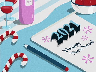 Happy New Year! digital art art 2021 holiday season art art work vector artist artph holdays 2021 holidays flat art flat design shapes isometric isometric art candy cane wine 2021 art happy year happy new year 2021 new year