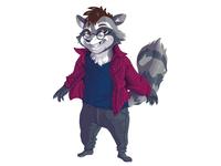 Commission anthro 3 cheeky raccoon furry anthropomorphic anthro cartoon illustration art illustration