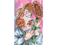 Summer redhead summer happiness cartoon illustration art illustration sunflowers sunflower copicmarkers