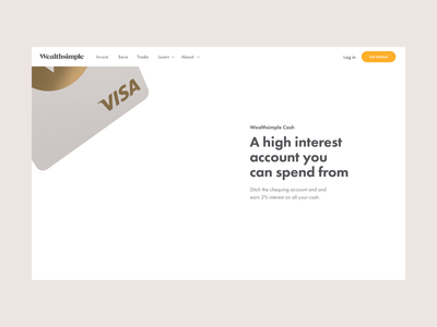 An early exploration for Wealthsimple Cash fintech animation principle creditcard 3d clean card