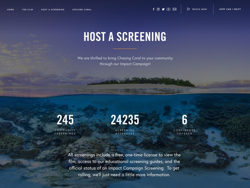 Host a Screening page