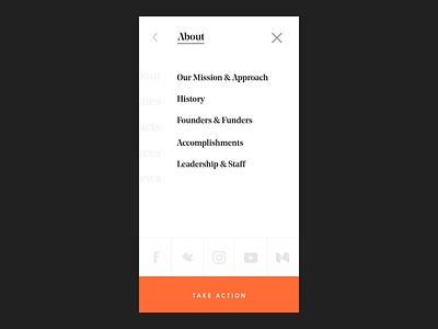 FWD.us Multi-level Mobile Menu Prototype interaction mobile menu navigation multi level navigation principle