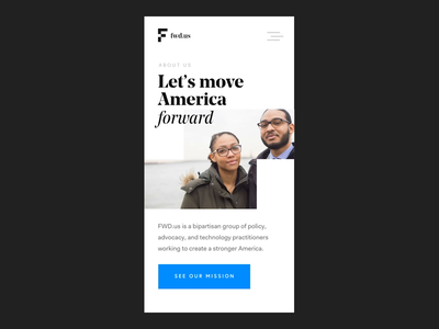 FWD.us Mobile About page with moving block interaction clean animation principle moving identity aboutpage