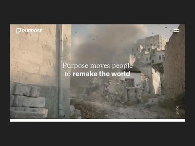Purpose.com Hero + Navigation reveal navigation background video hero