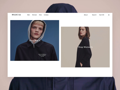 Makia Desktop Frontpage Reveal hero animation clean ecommerce makia